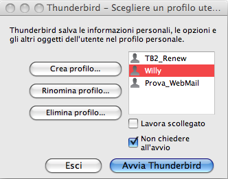 direct |Il profile manager di Mozilla Thunderbird