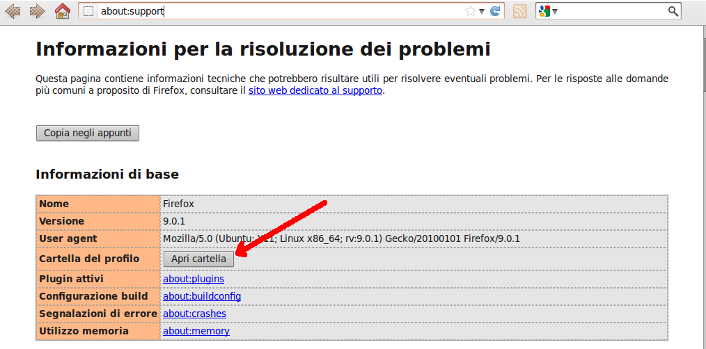 &direct |about:support - Informazioni su Mozilla Firefox