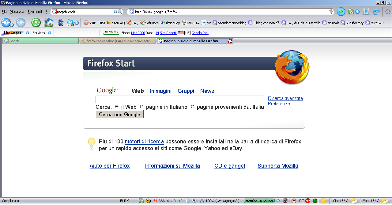&direct |Mozilla Firefox 2 su Windows XP - Estremamente personalizzato.