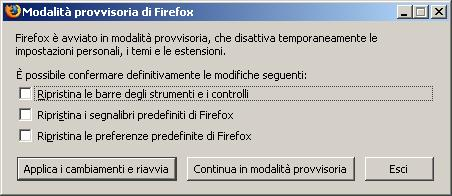 direct |Avvio di Mozilla Firefox in safe-mode.