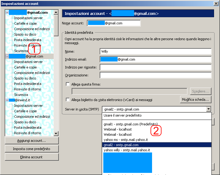 &direct |Assegnazione di un server SMTP ad un account di posta su Mozilla Thunderbird.