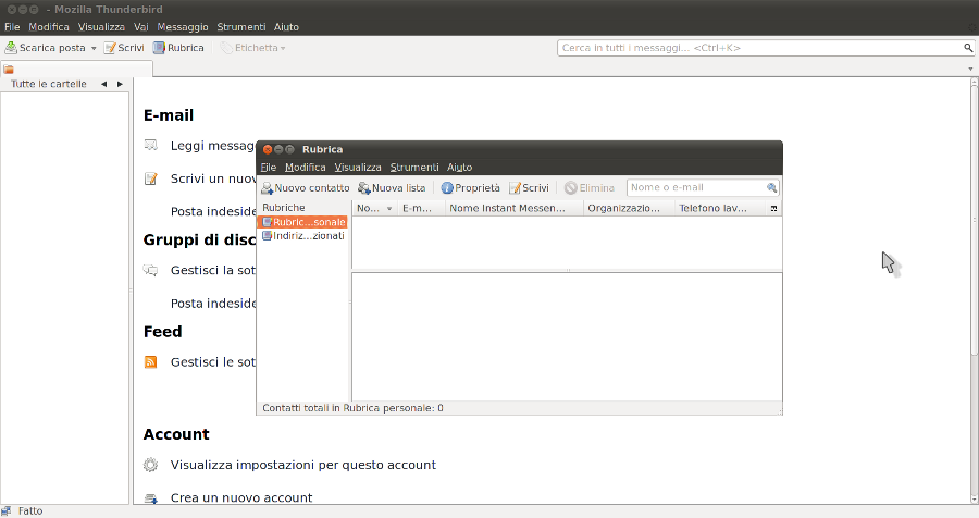&direct |Rubrica di Mozilla Thunderbird 3.