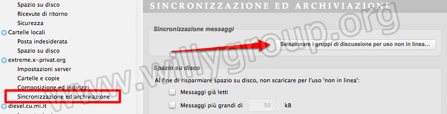 direct&600 |Impostare i newsgroup per la lettura off-line su Mozilla Thunderbird.