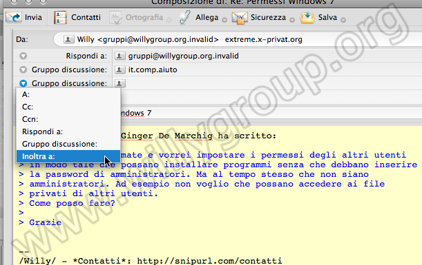 &direct |Impostare il follow-up su Mozilla Thunderbird 3.